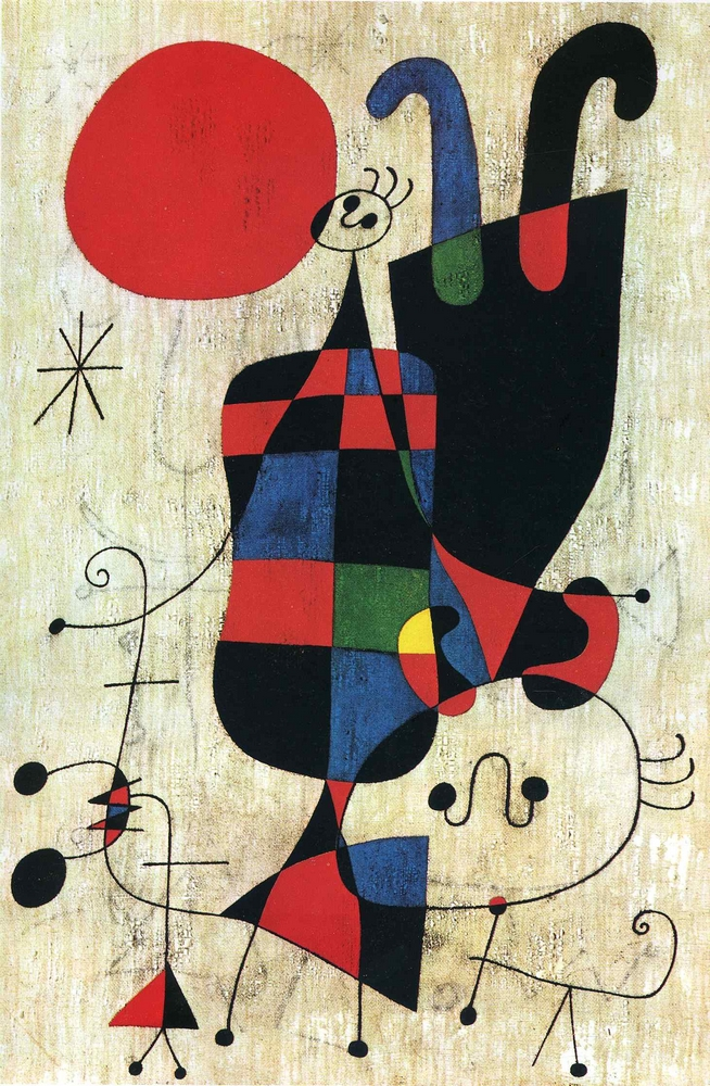 Joan Miró: Alakok és kutya a Nap előtt (1949, olaj, vászon, 81x54,5 cm, Kunstmuseum, Basel)