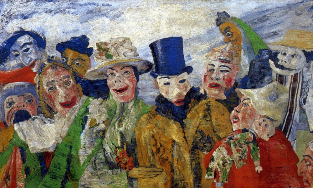 James Ensor: A cselszövés (1890, olaj, vászon, 89,5x136,9 cm; Minneapolis Institute of Arts)